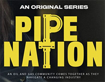 Poster with yellow font of the Pipe Nation Logo